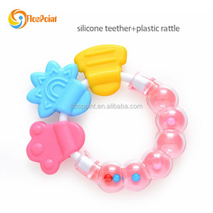 Musical Toy Style and Plastic Material infant rattles baby silicone teether wholesale