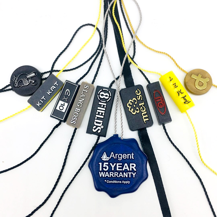 Custom Brand Name Logo Garment Hang Tag Plastic Lock String Seal For Clothing Accessories