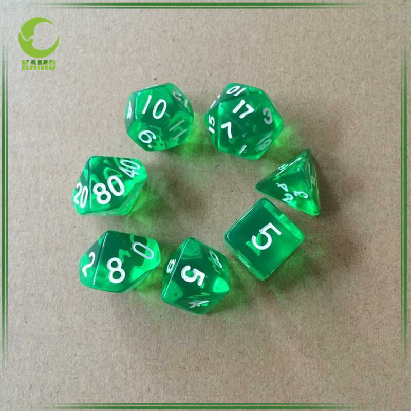 SET of 7 Dices Gaming Tools Clear Sided Custom Dice