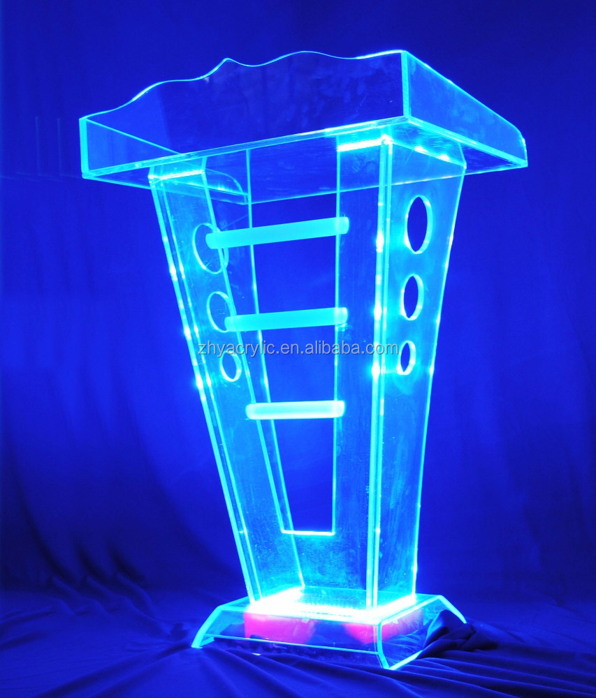 Hot sell acrylic led podium,clear plastic church podium