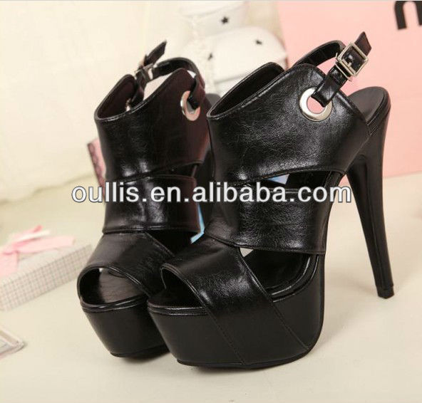 new design women black high heel shoes china PF2280