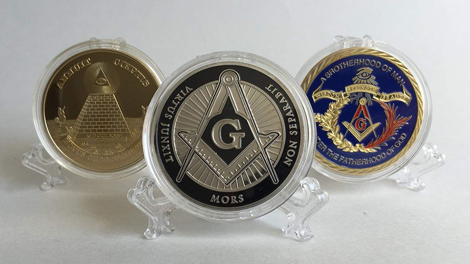 Set of 3 (1 silver, 2 gold color with color) Freemason Collectible Challenge Coins plus free sticker by Lucky Donk, Poker Card Guard, Golf Ball Marker, paperweight