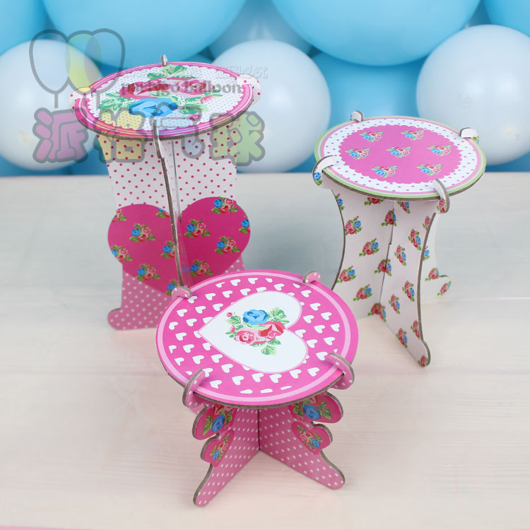 3pcs/set Cardboard Cupcake Stand With Rose Flower Birthday Party <strong>Decoration</strong>