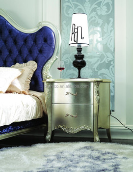 Solid Wood Champagne Silver Color Night Stand, Bedroom Furniture Night Stand