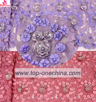 Beaded Handwork Latest African 3D Flowers French Lace Fabrics with Sequins Tulle Lace for Party Dress