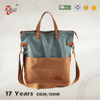 2016 Fashionable cute women waxed canvas tote bag with shoulder straps