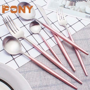 Rose gold cutlery flatware set with silver plated pink handle color flatware set for wedding cutlery