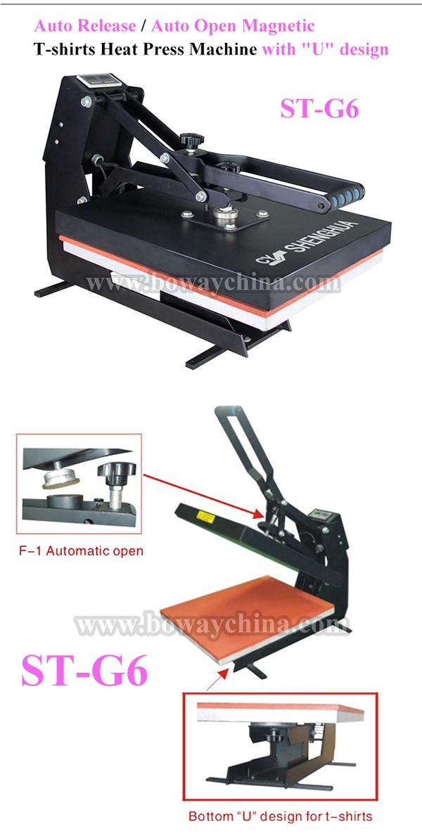 Auto release/auto open magnetic U design t-shirts heat press machine