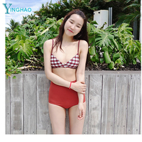 2017 Korean version of the new retro lattice split swimsuit high waist three sets of bikini