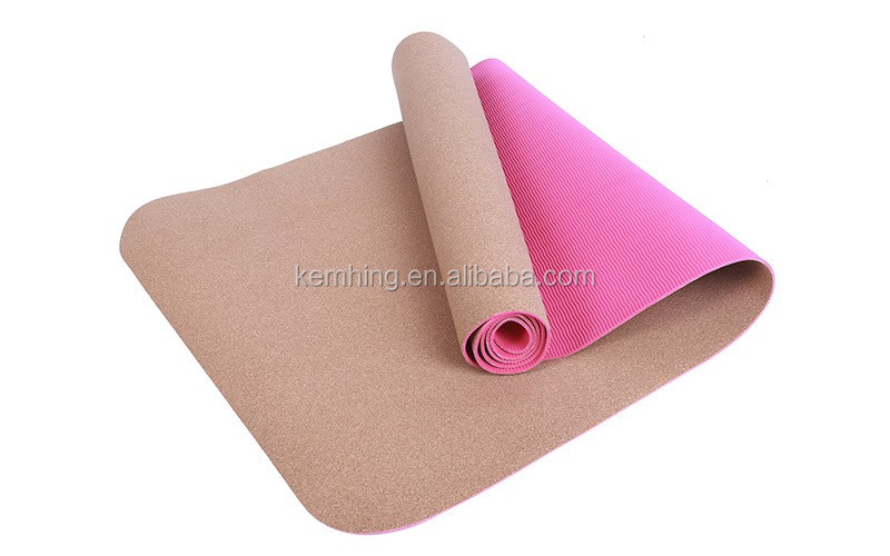pollution-free exercise gym floor mat for slimming natural rubber cork yoga mat