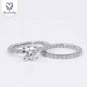 Ytisi customized 14k/18k white gold ring 7mm round heart&arrow colorless foreverone moissanite engagement ring set