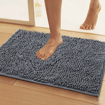 Washable microfiber rubber backed non slip bathroom mat Washable bathroom carpet cut to fit