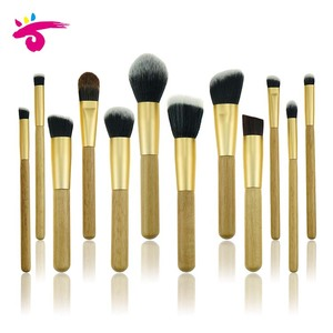 12Pieces golden brushes Makeup with bamboo handle original color classic makeup brushes