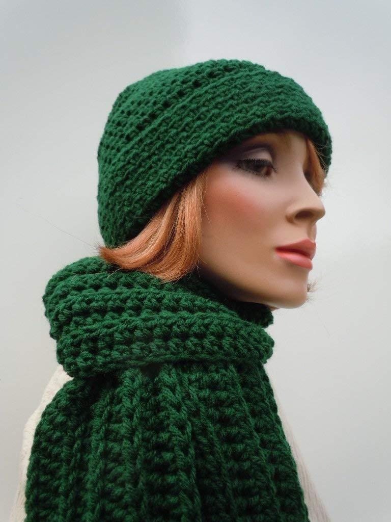 Men Hat Scarf Set, Dark Green Hat Scarf, Hunter Green, Crochet Hat Scarf, Mens Green Hat Scarf, Winter Hat and Scarf