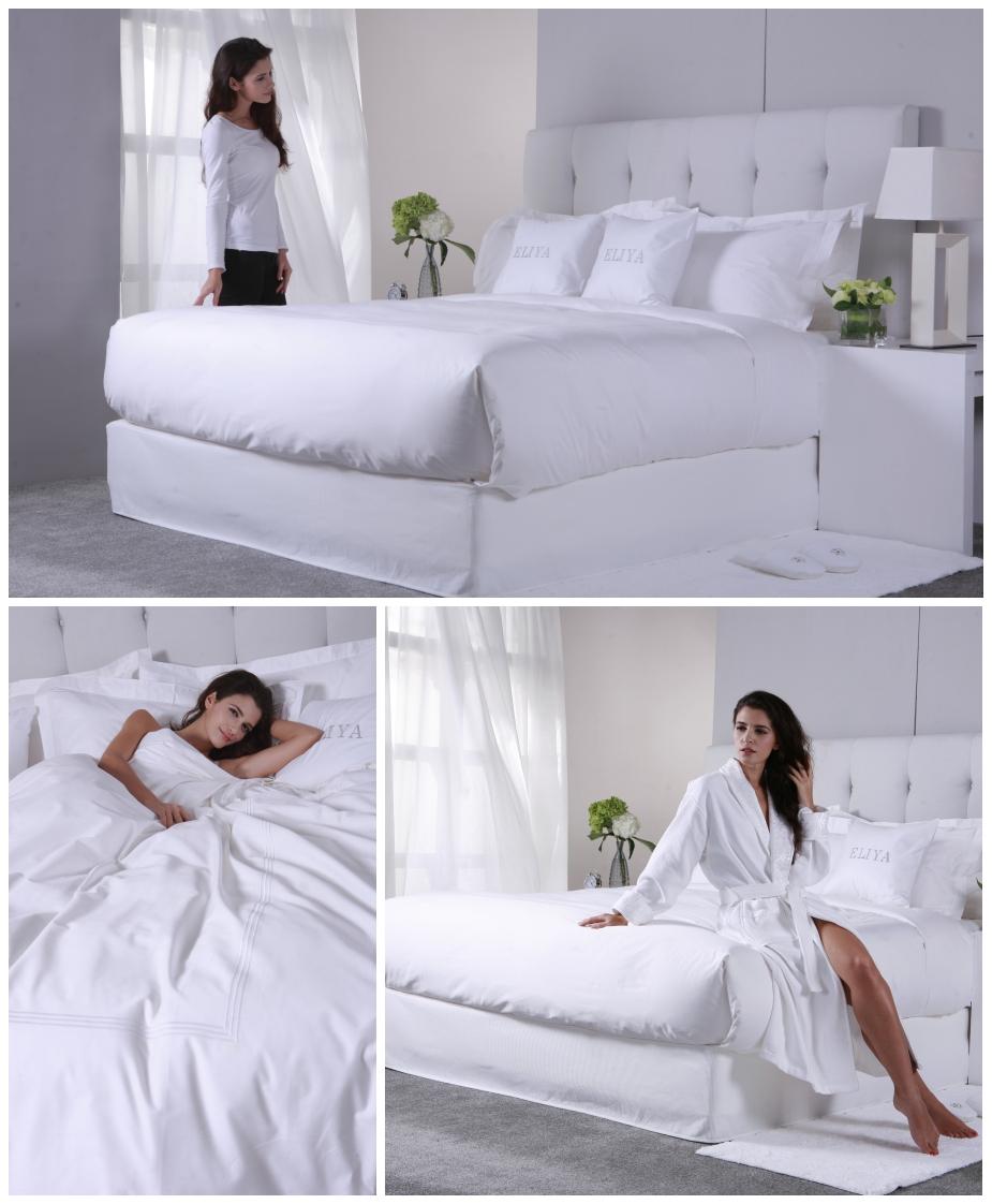 Desain Iso9001 China Perlengkapan 100% Katun Raja Dilengkapi 5 Bintang Putih Selimut Set Sprei Hotel
