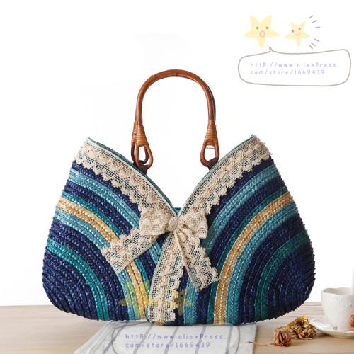765f493760 Get Quotations · 2015 New Lace Bow Straw Bag Color Stripe Fine Woven Women  Bags Bolsa Feminina Bolsas Handbags