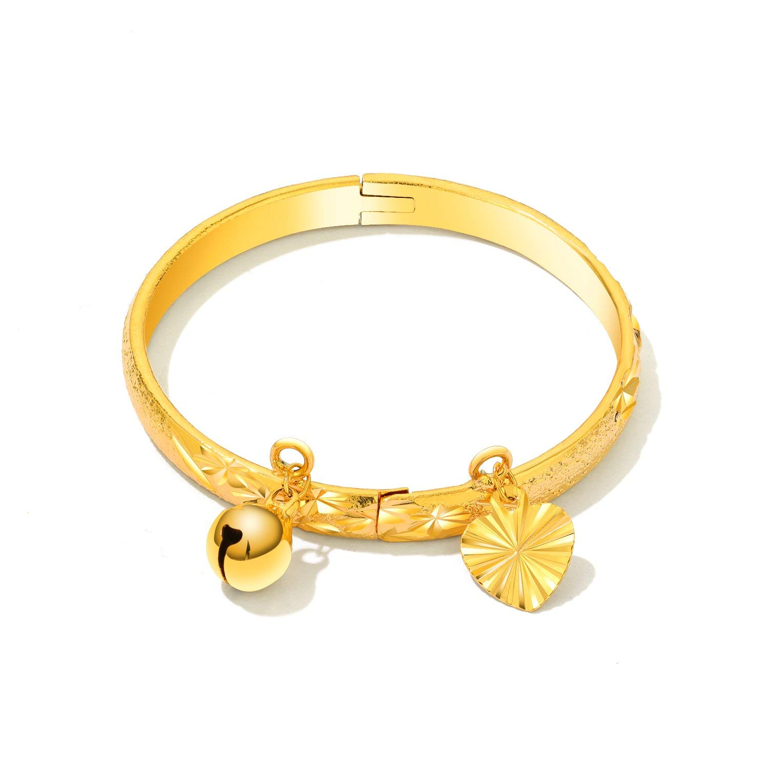 5d2fe1df9 Get Quotations · Opk Jewelry Fashion Gold Plated Children's Bangle Heart  and Bell Pendant Cuff Bracelets