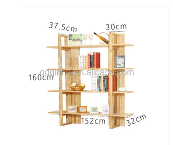 Top White Ash Solid Wood Book Shelf Rack Corner Design