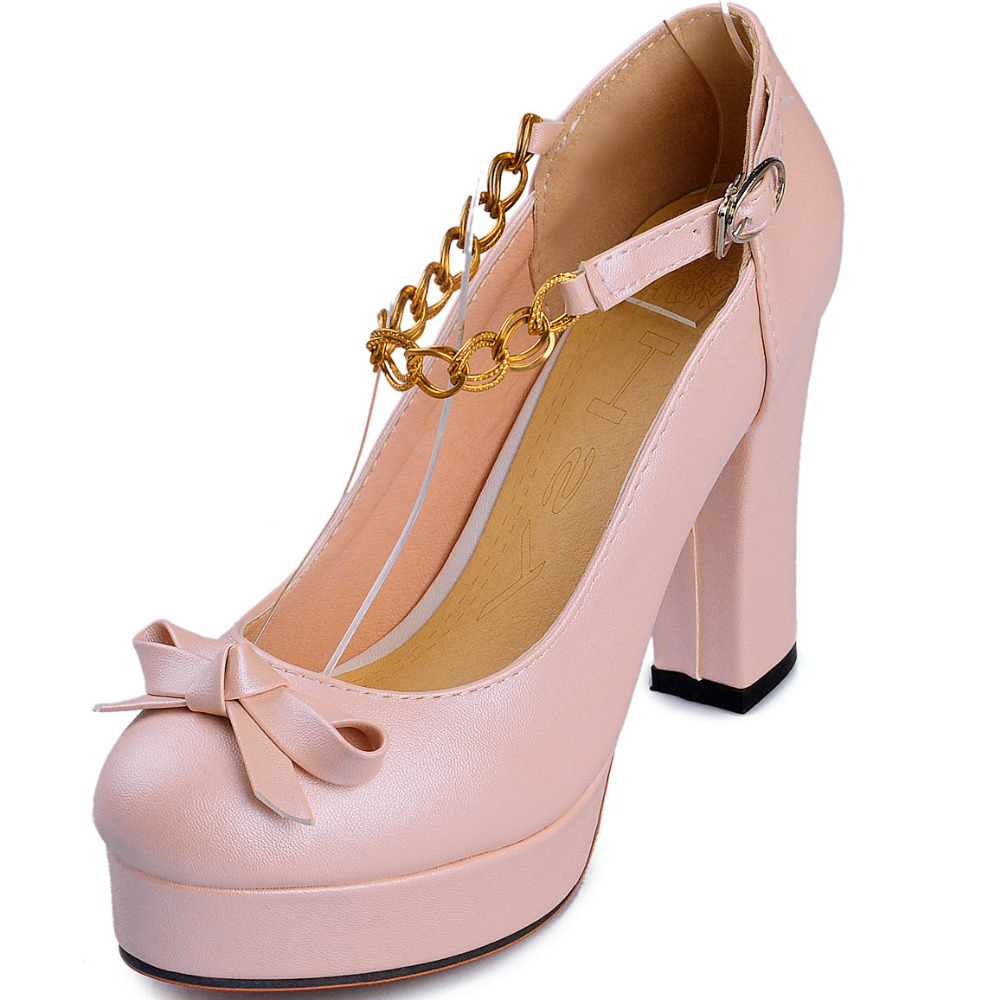 Cheap Pumps Metal Heel Find Deals On Line At Womens Platform Pu Sweet High Heels Shoes Get Quotations Chunky Woman 2015 Round Toe Bowtie Chains Women