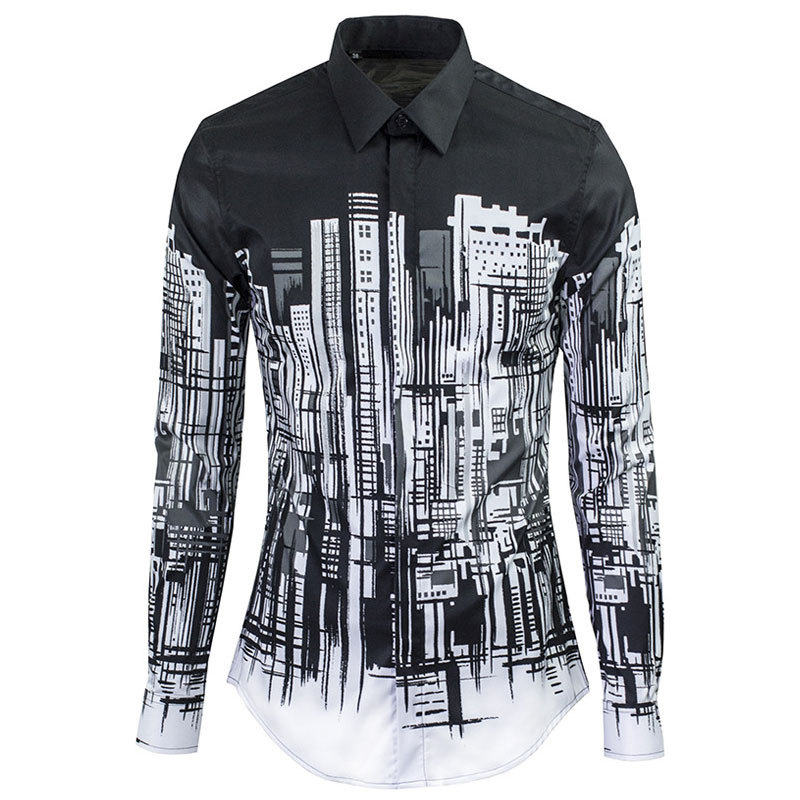Get Quotations · Luxuary Mens Dress Shirts Brand Design Ink Building Print  Long Sleeve Cotton Shirts Men Casual Slim 25fe73ef310