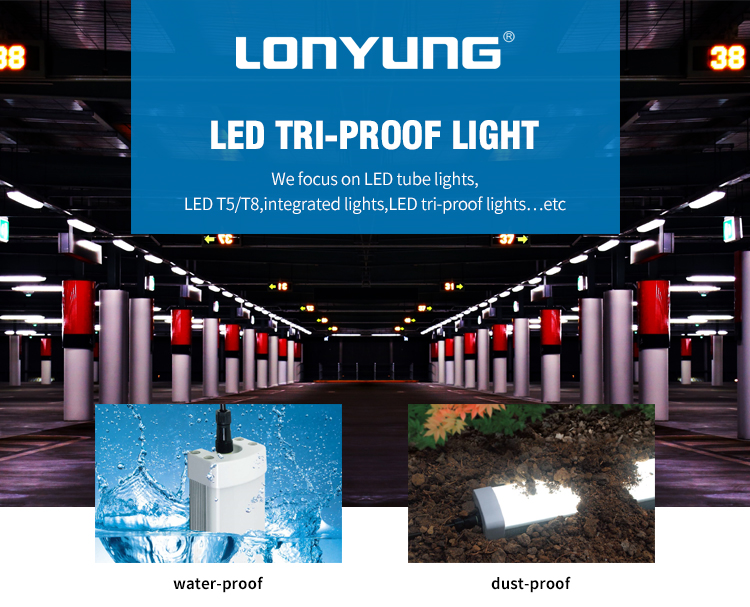 DLC SAA CE approved led tri-proof light 60W 40W IP66 LED Fixture T8 Tri Proof Light IP66 Triproof Light Fitting