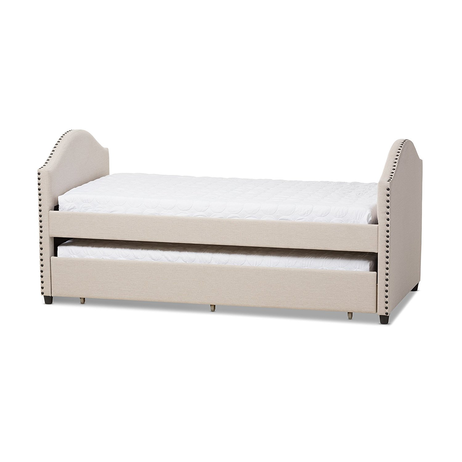 Baxton Studio Alair Fabric Upholstered Daybed with Guest Trundle Bed, Twin, Beige
