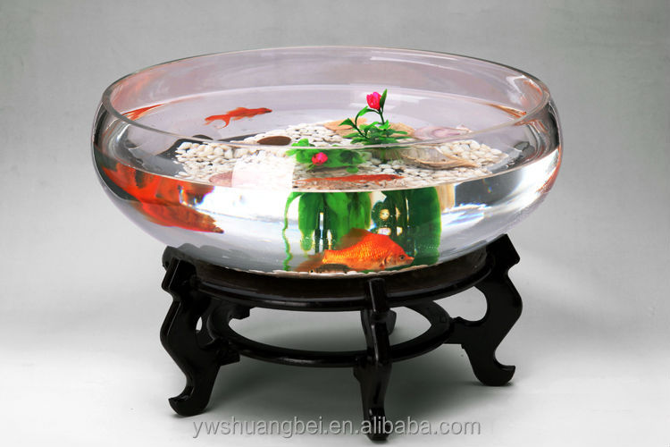 2015 New Design Round Clear Glass Open Mouth Fish Bowl Aquarium ...