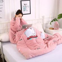 Ленивое зимнее покрывало с рукавами зимнее теплое зимнее тёплое одеяло постельное белье с принтом(Китай)