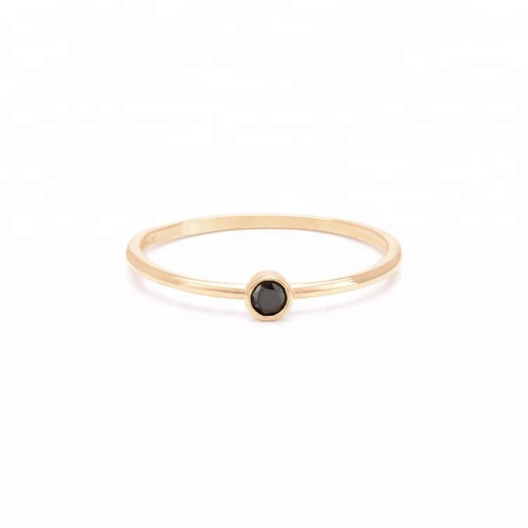 925 silver jewelry minimalist black zircon stackable lucky stone rings