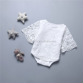Hot sale white short sleeve lace petti romper plain baby girls rompers