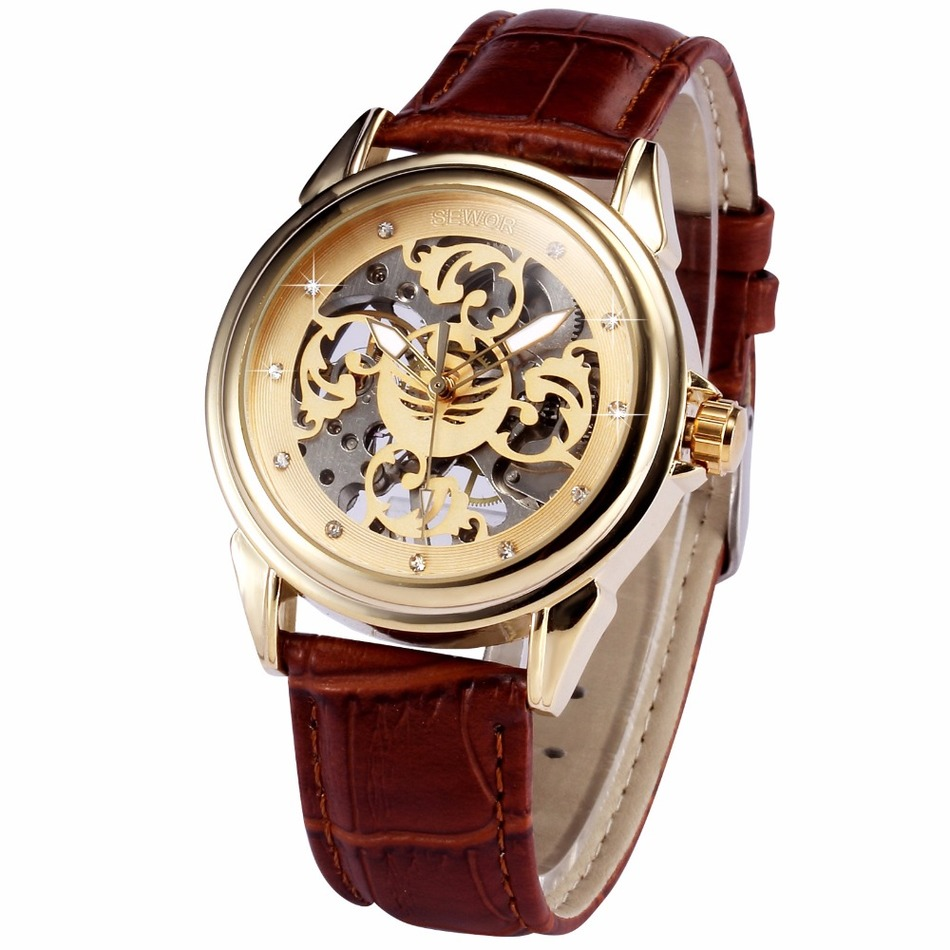 New Brand Gold Men Wristwatches Skeleton Mechanical Watch Brown Leather Strap Male Fashion Clock Montre Homme Erkek Kol Saati