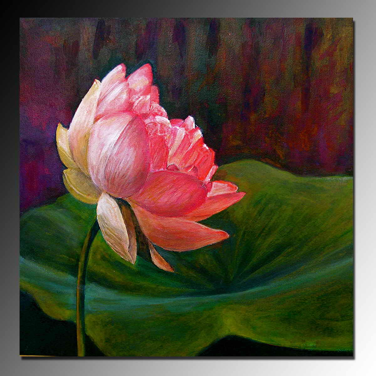 Handmade Water Lily Lotus Flower And Leaf Oil Paintings For Home
