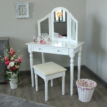 white bedroom dressing table triple mirror stool set modern
