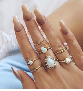 7pcs/set Fashion Hot Sale Australian Jewel Drop Ring For Women Girls Jewelry