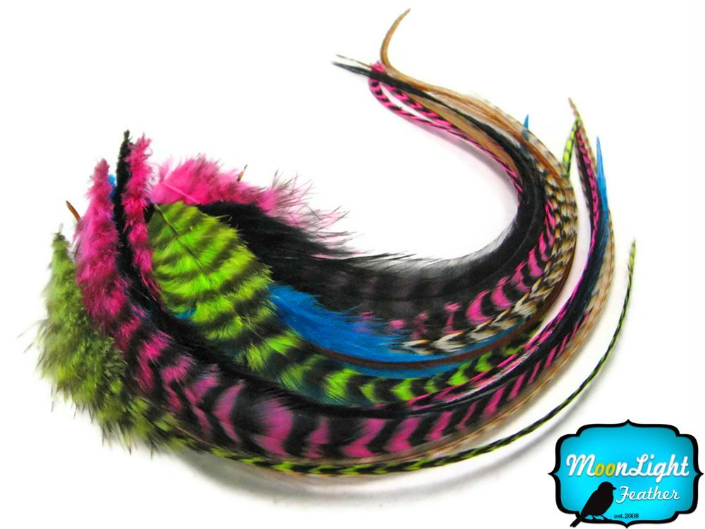 Hair Extension Feathers, Rooster Feathers - Rainbow Combo Mix Long Rooster Hair Extension Feathers - 10 Pieces