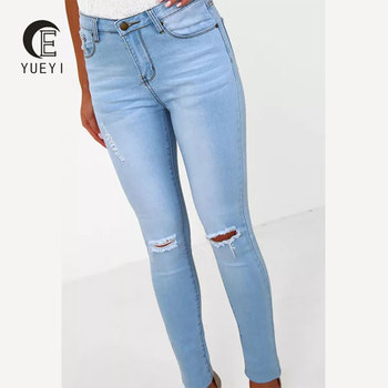 a620038c68d latest light denim ripped knee skinny jeans tops girls custom jean