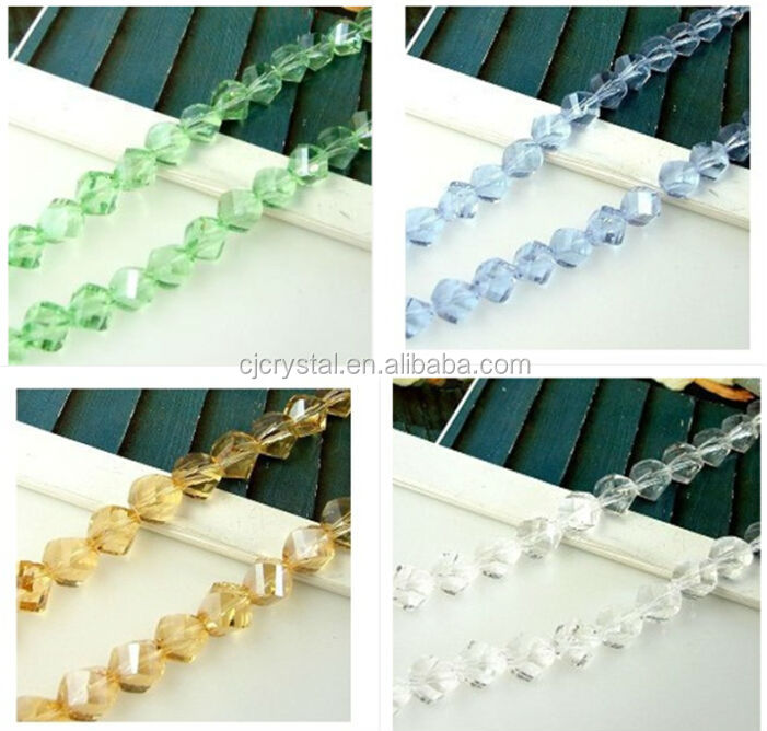 Crystal faceted glass twist beads for jewelry decorations glass beads