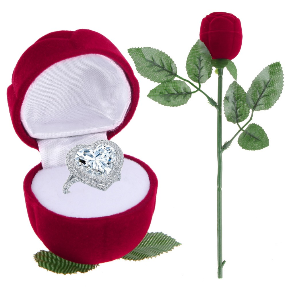 Rose Flowers Shape Velvet Ring Box For Wedding Valentine S Day Buy Ring Boxes For Sale Red Rose Ring Box Valentine S Day Product On Alibaba Com