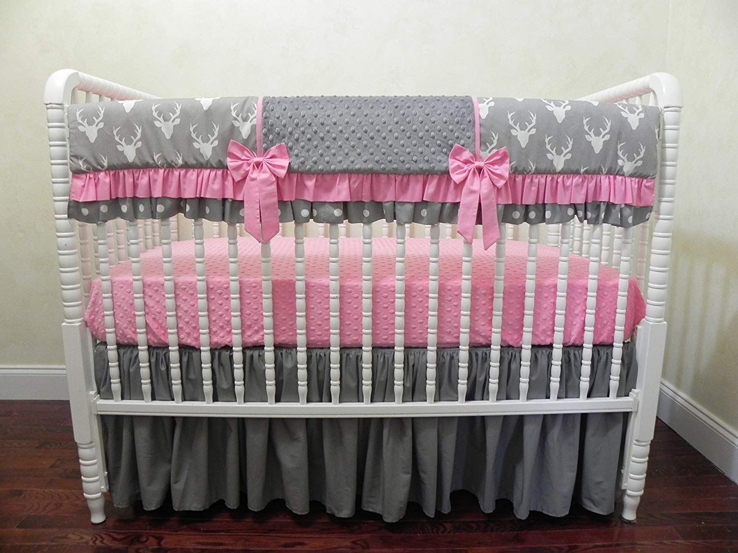 7b52baf03 Get Quotations · Nursery Bedding, Girl Crib Bedding Set Rhona, Bumperless Crib  Bedding, Crib Rail Cover