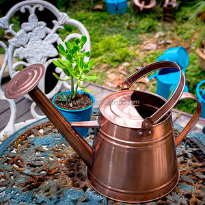 Rose gold glossy round galvanized metal watering can water pouring pot