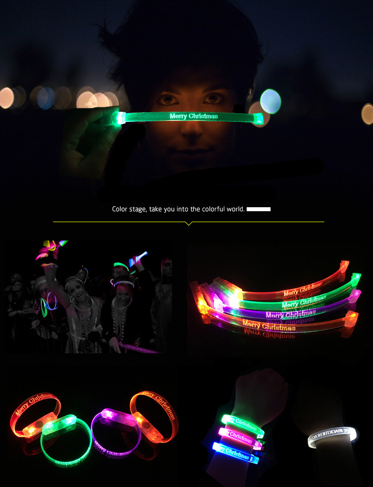 Hot Sale Sound Sensor Flashing LED Motion Activated Flashing Bracelet Light Wristbands For Events