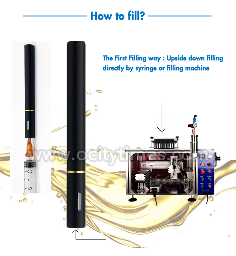 No leak upside down filling OCITYTIMES .2ml .8ml slim vape pen thick hemp cbd oil disposable vaporizer e cigarette