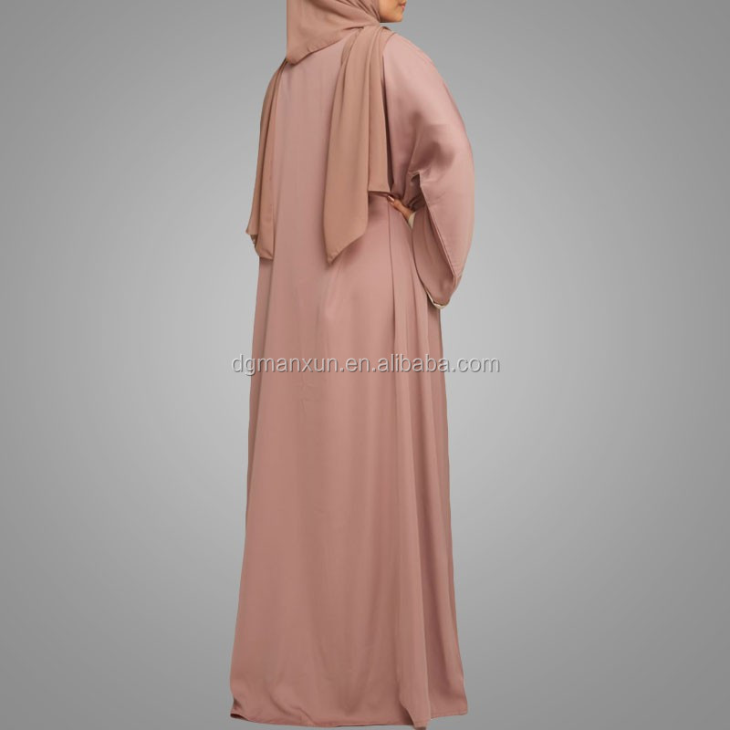 Open jacket simple style muslim abaya100% polyester front open abaya high end muslim kimono abaya