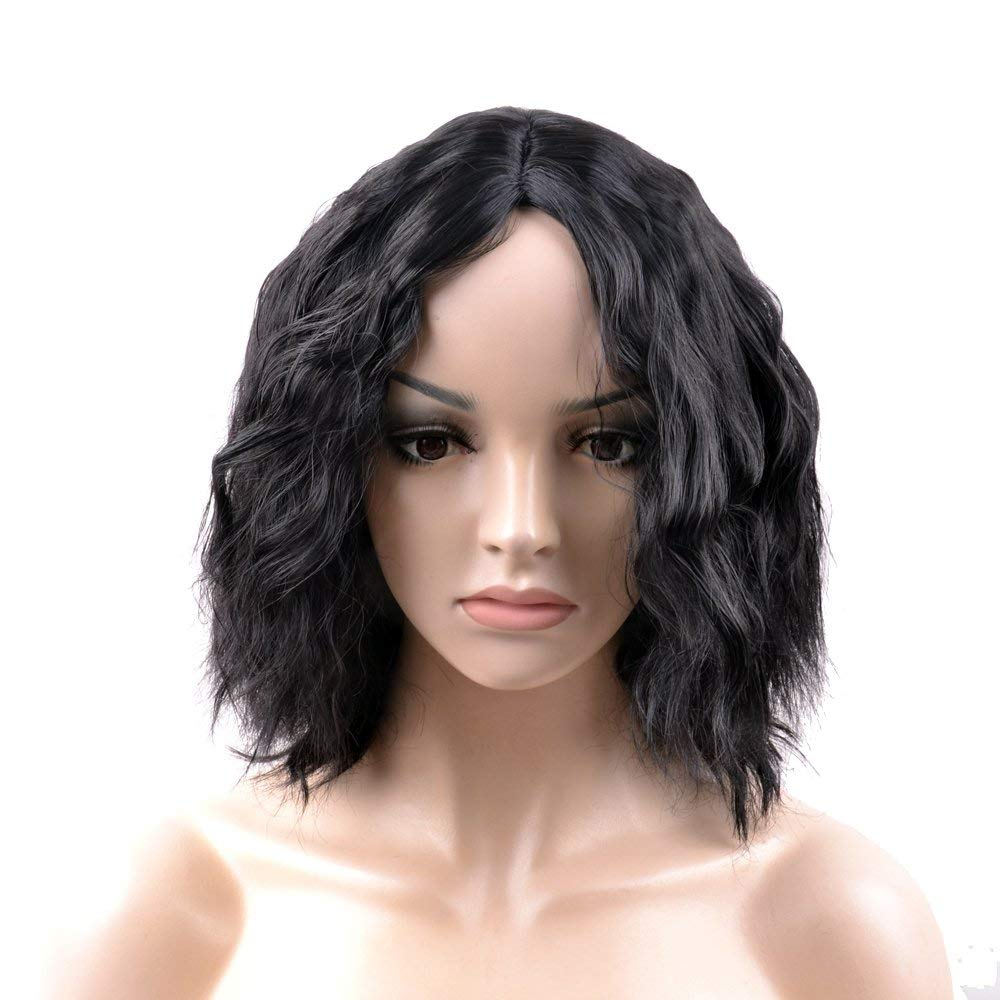 OUO HAIR Fiber Wig Fashion Wig Short Hair Curls Black Parted in the Middle Synthetic Wig (Black)