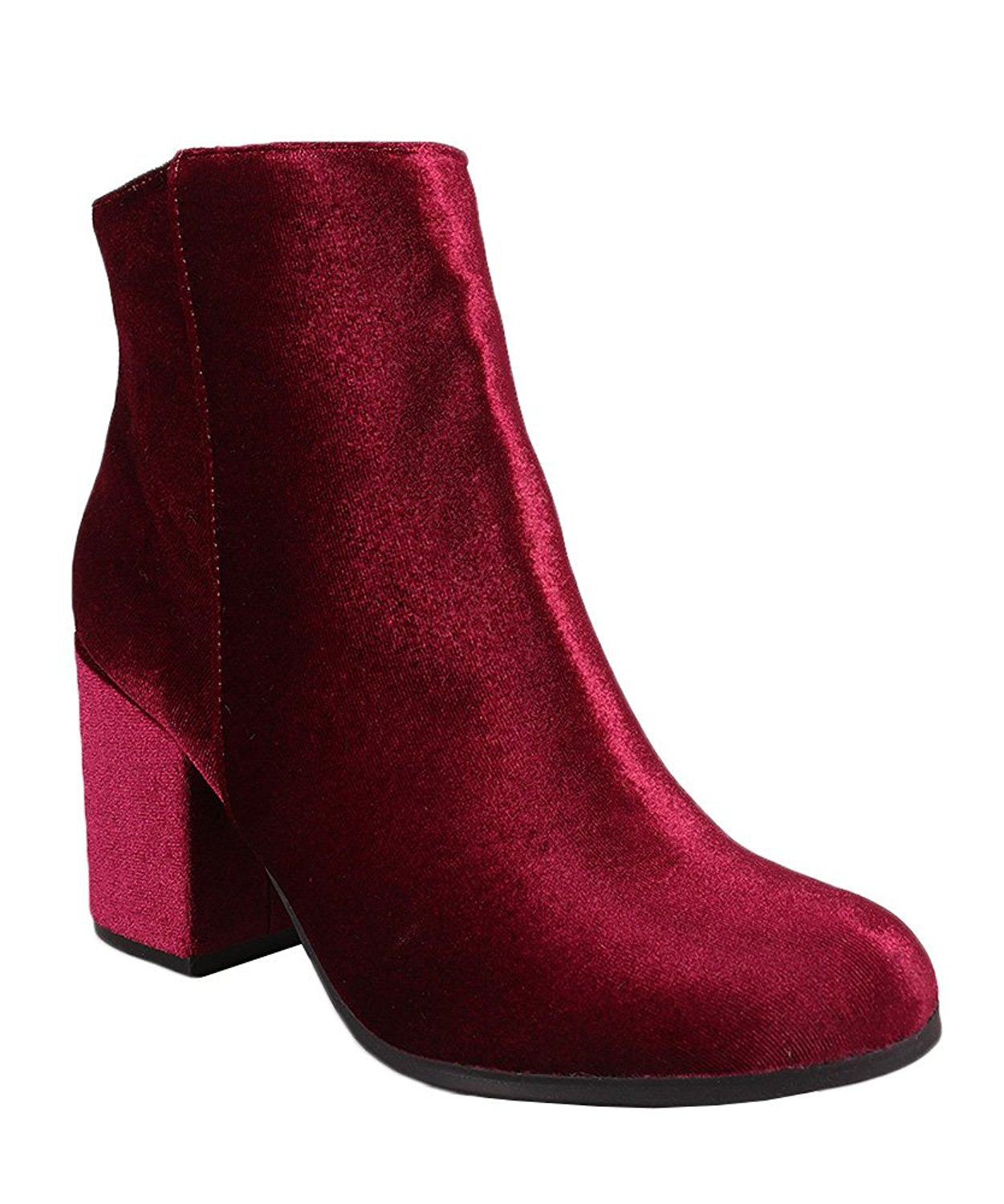 Qupid Rannel-07 Women Fashion Faux Velvet Fitted Almond Toe Pointy Toe Block Chunky Heel Ankle Booties