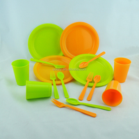 China tableware high quality 16pcs plastic disposable camping tableware