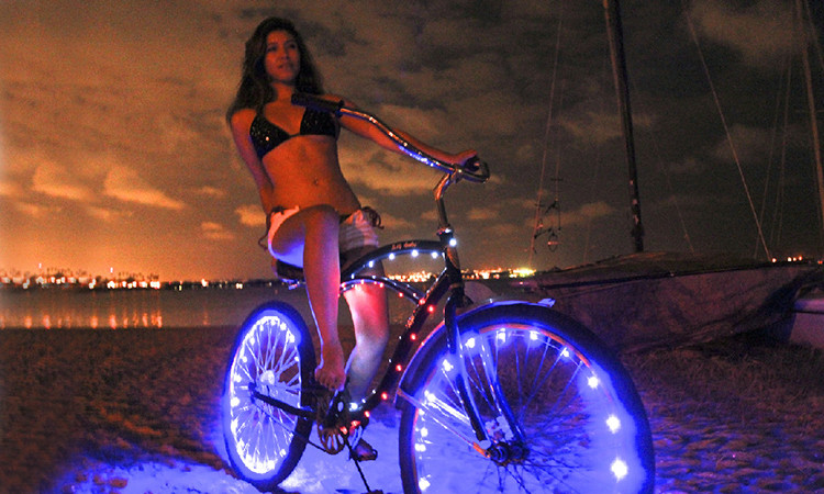Bike Bicycle Wheel Assessaries Safety Super Bright 2M 20 Blue LEDs Copper Wire String Lights