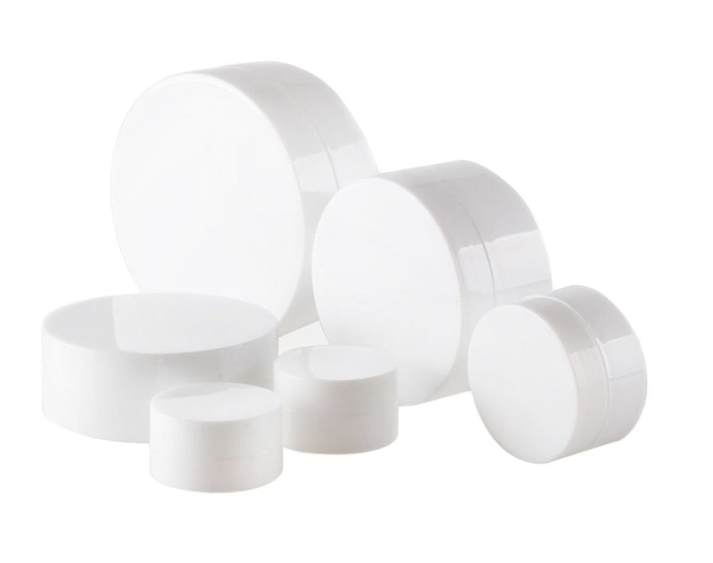 6PCS 3ml/5ml/10ml/30ml/50ml/100ml Empty White Portable Plastic Refillable Concave Bottom Makeup Cosmetic Face Cream Jar Sample Container Bottle Pot (50ml/ 1.7oz)
