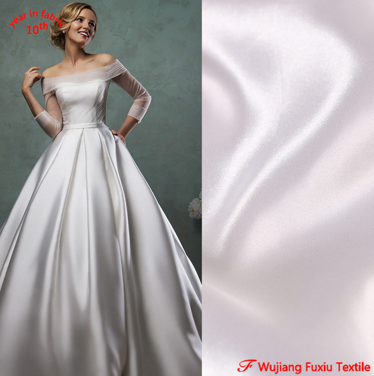 Wedding Gown Wholesalers: Wholesale White Satin 100% Polyester Thick Sateen Fabric