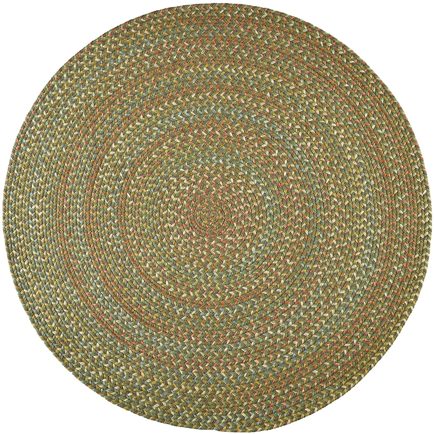 Super Area Rugs Confetti Braided Rug Traditional Rug Textured Durable Green Casual Decor Carpet, 10' Round